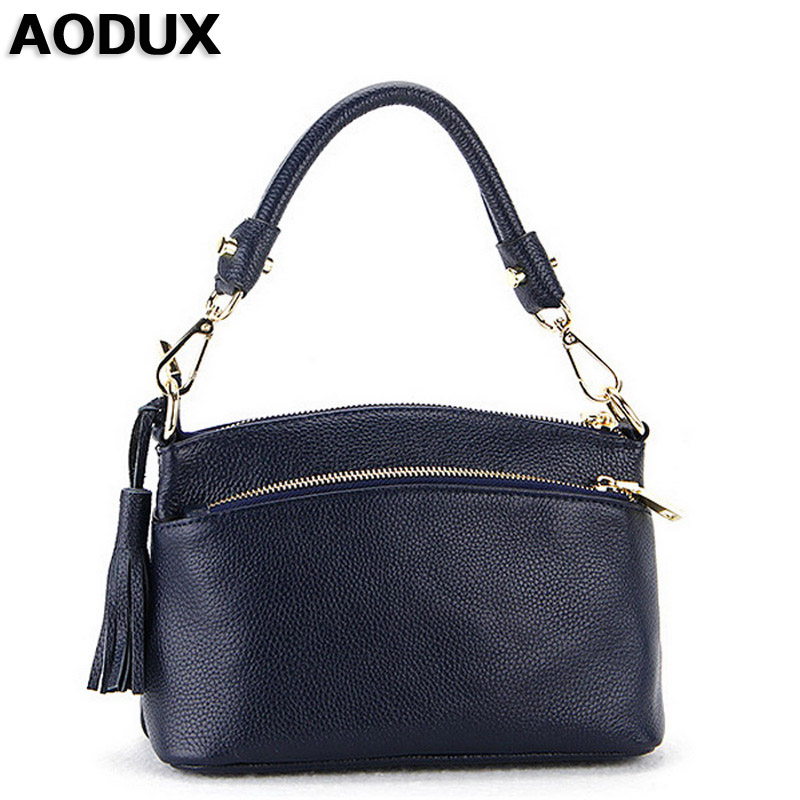 AODUX First Layer Genuine Leather Small Women Handbags Ladies Real Top Leather Female Bags Ladies Messenger Bag Hobo Satchel bag female new genuine leather handbags first layer of leather shoulder bag korean zipper small square bag mobile messenger bags