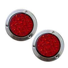 1 Pair 16 LEDs Red Car Rear Tail Lights Stop Brake Taillight Round Rubber Ring Lamp for Truck Trailer Vehicles 12V/24V 1 pair 20 leds car rear tail light stop brake lamps warning light for truck trailer 12v red