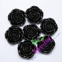 50ชิ้น/ล็อต(F18)สีดำ42มิลลิเมตรก้อนเรซิ่นดอกกุหลาบลูกปัดดอกไม้กับหลุมสำหรับเด็กสาวทาสีDIY