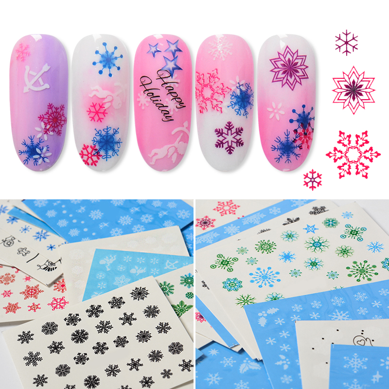 T TIAO CLUB 30Pcs Pure White Black Pink Snowflake Nail Sticker Christmas Decals Nail Art Decorations Water Winter Tools Sets in Stickers Decals from Beauty Health