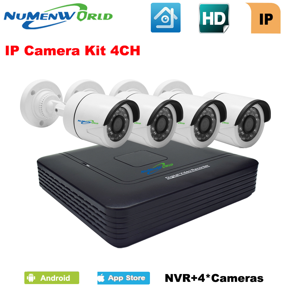 Numenworld HD NVR KIT 4 Channel 1080P network video recorde with 4pcs outdoor CCTV IP camera 1080P set Home Surveillance System|record video|recording kit|recording ip camera - title=