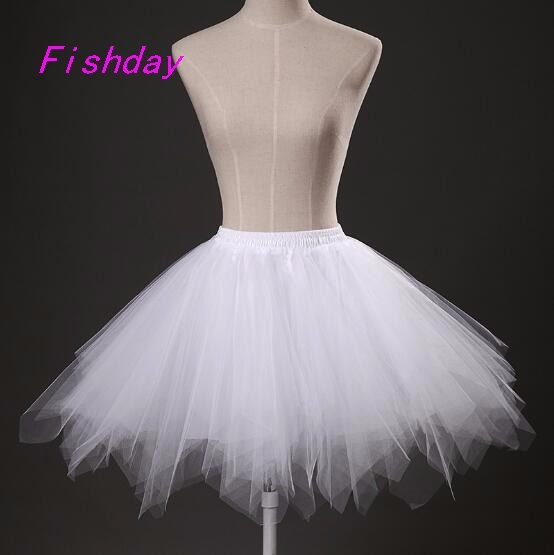 2017 Cheap Short Colored A Line Tutu Skirt For Adults Tulle Petticoats Red Black Girls Woman Underskirt For Wedding Dress A20