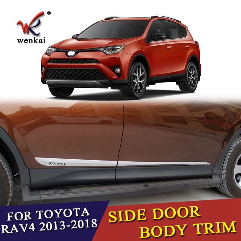 ABS Chrome Accessories Side Door Body Molding Cover Trim 4Pcs For Toyota Rav4 2014 2015 2016 2017 2018