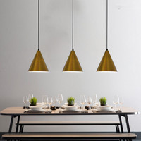Antique Nordic Gold Pendant Lights Geometric Cone Line Lamps For Restaurant Dinning Room Kitchen DIY Art pendant light Fixtures