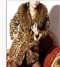 Female Man made Fur Leopard Print Fur Coat Women Casual Faux Raccoon Fur Collar Thick Cotton