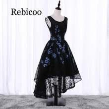 Женское кружевное платье без рукавов rebicoo черное до колен