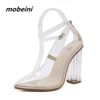 European And American Style Fashion Women Shoes Pointed Toe High Heeled Shoes Crystal Shoes Clear Glass