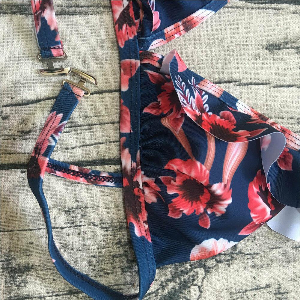 Two-Pieces Women Floral Push-up Padded Bra Ruffles Bandage Bikini Set Triangle Swimsuit Swimwear Bathing Suit Beachwear Biquini 2