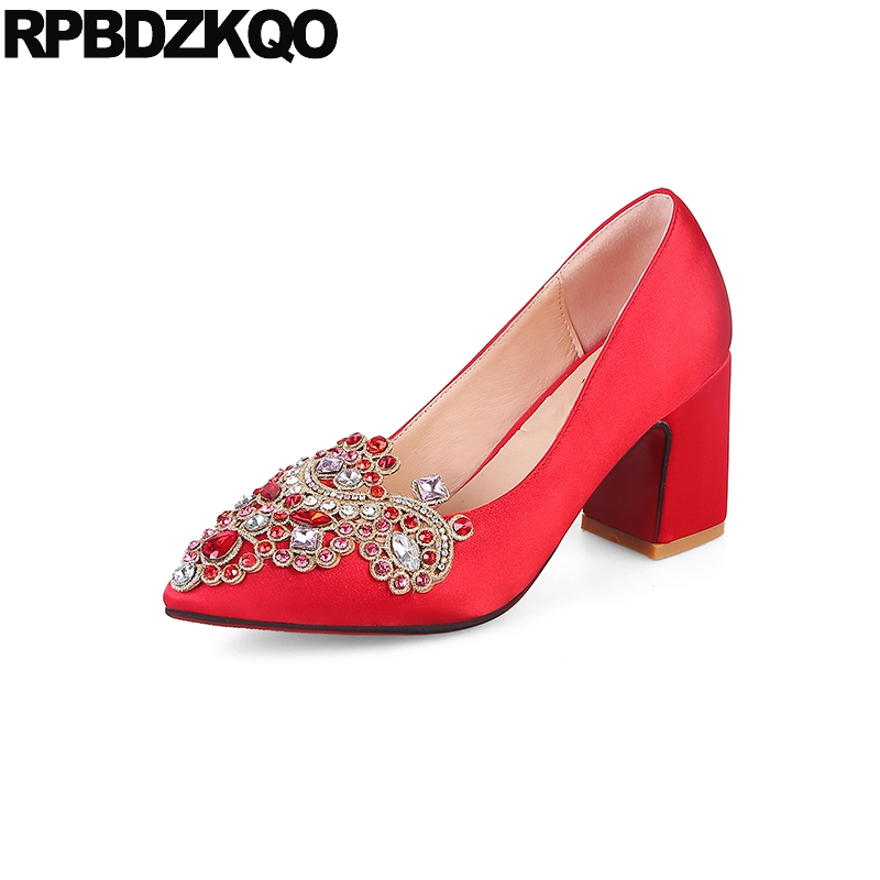 Rhinestone Pointed Toe Satin Silk Bridal Medium High Heels Thick Ladies Shoes Wedding Metal Size 4 34 3 Inch Red Spring New pumps rhinestone party pointed toe chic bridal shoes wedding stiletto extreme black 9cm 4 inch red 2017 34 small size women high