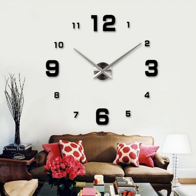 Popular Adhesive Wall Clock Buy Cheap Adhesive Wall Clock lots   2015 home decor circular wall clock modern big 3d diy acrylic mirror quartz  sticker clocks adhesive. Clocks For Living Room. Home Design Ideas