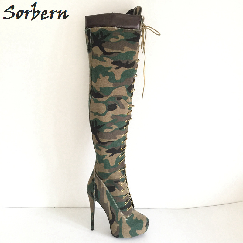 Sorbern Green Camouflage Knee High Boots Winter Shoes Women Platform Shoes Ladies Extrem High Heels Long Boots Size 33-46 sorbern extrem high heel strange style wedges thigh high boots designer platform boots long custom shoes women plus size 4 15