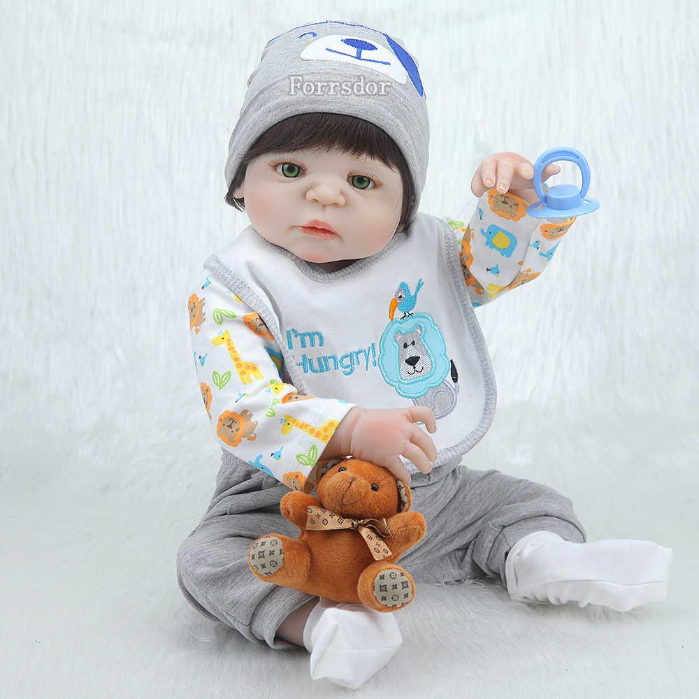 """Кукла для новорожденных мальчиков 22 """", настоящая силиконовая кукла для возрождения, подарок для ребенка, игрушка для возрождения, цельный силикон"""