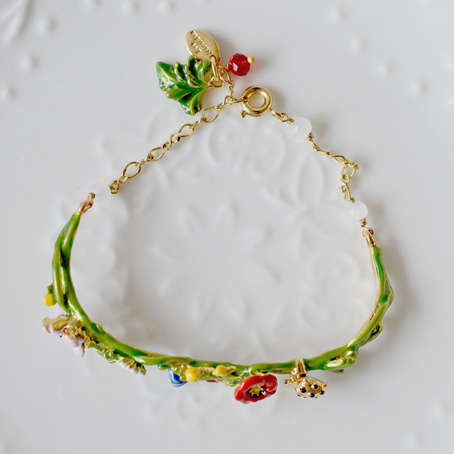 Les Nereides Flowers Vine Bracelet Bangles For Women Enamel Good Quality Party Jewelry