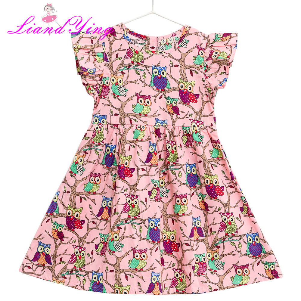 Children Clothes Dress 2018 New Summer Style Kids European American Flamingos Owl Princess Dress Design 2-12Y Baby Girls Dress 100% real photo brand kids red heart sleeve dress american and european style hollow girls clothes baby girl clothes