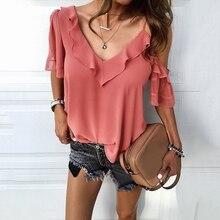 Blusa de chifón con hombros descubiertos para verano, camisa Sexy con cuello de pico y Collar de loto Irregular para mujer, estilo Elegante