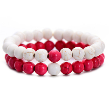 Classic Natural Stone Yin Yang Beaded Bracelets, 2Pcs/Set Bracelets Jewelry New Arrivals Women Jewelry Metal Color: white red