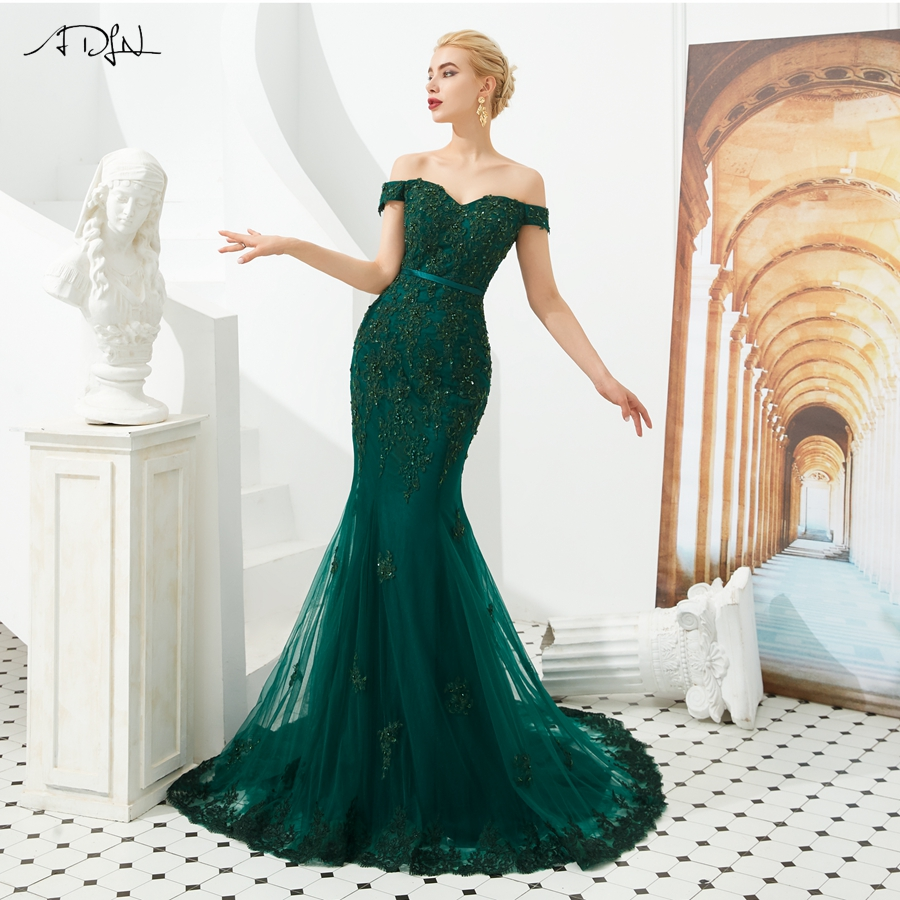 ADLN Robe De Soiree Lace   Evening     Dresses   Emerald Green Off the Shoulder Applique Mermaid Long Formal Prom Party   Dress