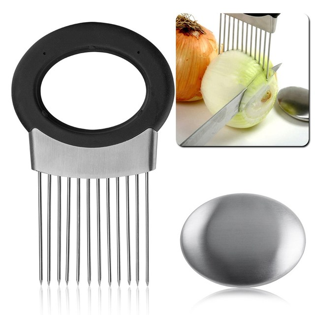 Kitchen Accessories Easy Onion Holder Slicer Vegetable Fruit Tomato Cutter Stainless Steel Home Cooking Tools