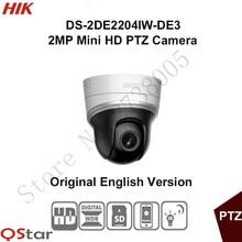 In stock Hikvision English 2MP Mini PTZ DS-2DE2204IW-DE3 2MP Mini IP PTZ Camera 2.8-12mm POE/Onvif/SD Card 128G 30m CCTV Camera