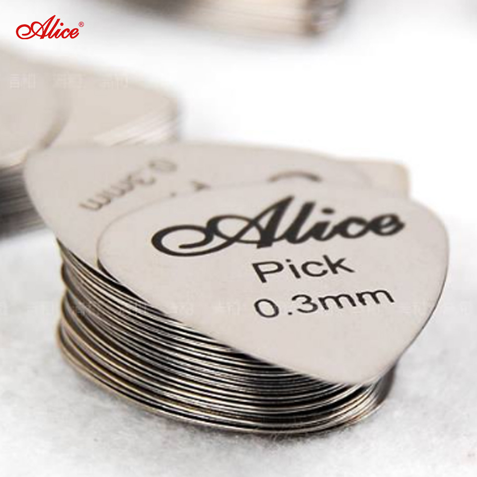 Alice 6pcs Bass Guitar Picks Stainless Steel Acoustic Electric Guitarra Plectrums 0.30mm