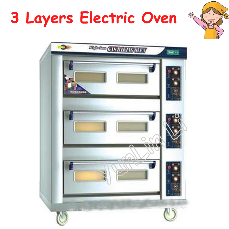 3 Layers 6 Trays Pizza Oven 380V Stainless Steel Bread Toaster Electric Baking Machine DFL-36 цена и фото