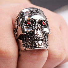 Terminator Skull Ring Men Red Crystal Eyes Locomotive Punk Style Accessories