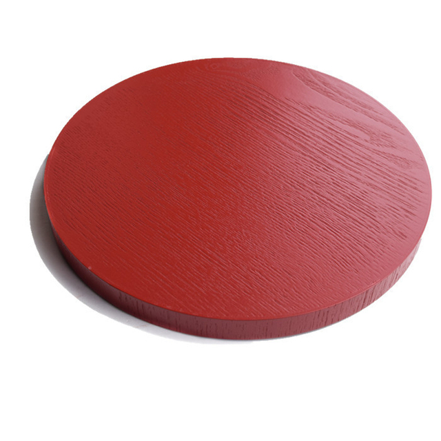 Round Red Wooden Serving Tray