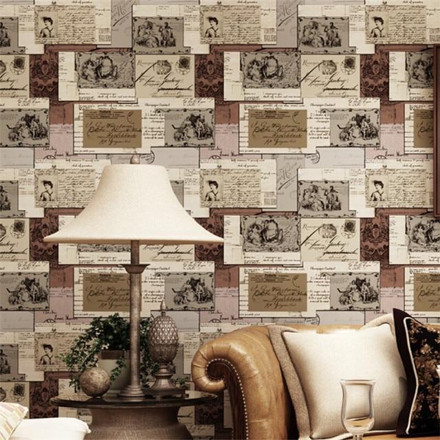 3D Vintage Buchstaben Tapete Amerikanischen Englische Wörter Retro Tapeten  Natürlichen Papier Für Wohnzimmer Study Coffee Bar
