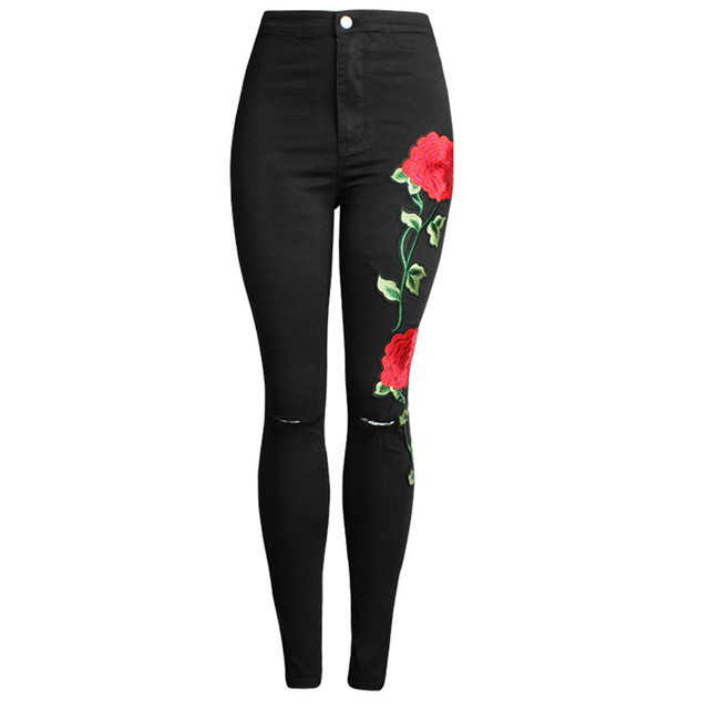 Women Embroidered Hole Denim Ripped Pants Stretch Skinny Jeans Slim Pencil 3D beggar Trousers