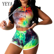 YEYA Vintage Tie Dyeing 2 Pieces Sets Hooded Top + Skinny Pants Summer Sleeveless Retro Printed Playsuits Women Casual Overalls