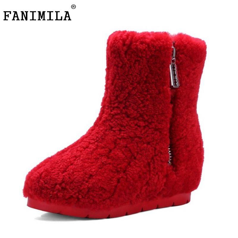 Winter Genuine Leather Women Ankle Boots Warm Thickend Sheep Fur Plush Snow Boots Feminina Fashion Zipper Women Shoes Size 34-39 muhuisen winter men genuine leather shoes fashion casual plush warm boots lace up flats male snow boots fur inside comfort