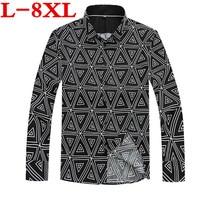 New Plus Size 8XL 9XL 10XL Spring Autumn Features Shirts Men Casual Shirt New Arrival Long