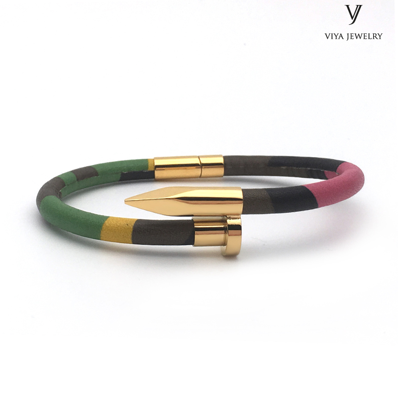 New Arrival Charming Camouflage Leather Men Nail Bracelets Colorful CAMO Cow Leather Cords Steel Nail Embellish Bracelet For Men charming glaze tube shape bracelet for men