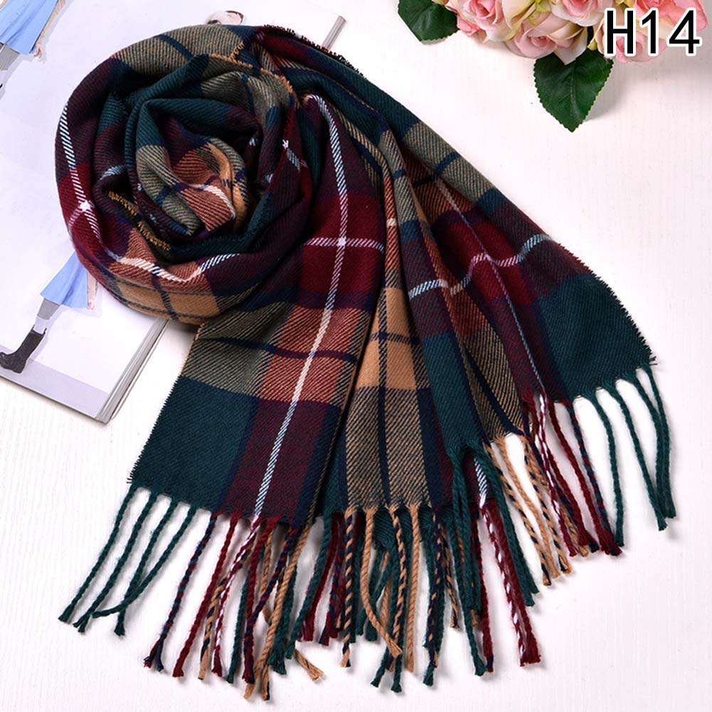 Autumn Winter Female Wool Plaid Scarf Women Cashmere Scarves Wide Lattices Long Shawl Wrap Blanket Warm Tippet Drop Ship
