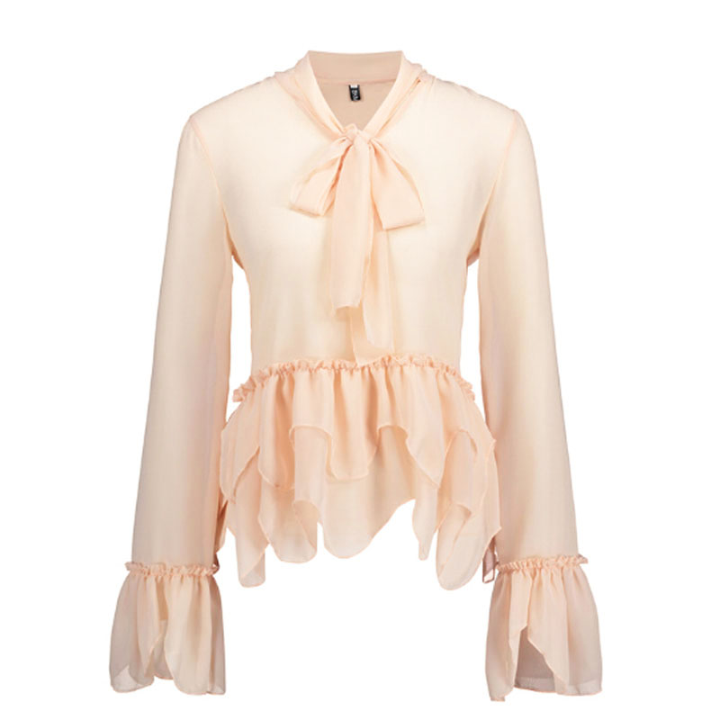 Fashion Solid Color Long Sleeve Bow Neck Chiffon Shirts Lolita Sweet Tie Collar Shirts Blouses Women