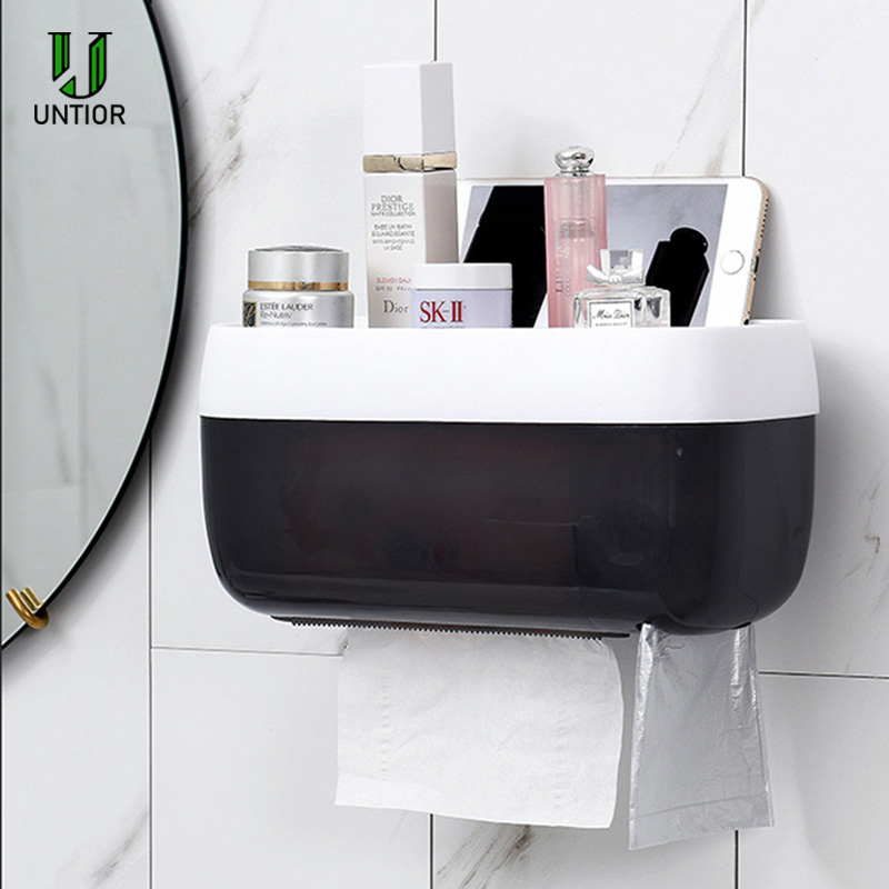 UNTIOR Wall-mounted Suction Cup Tissue Box Dispenser Napkin Holder Box Paper Tray Roll Drain Shelf Bathroom Toilet Paper Holder