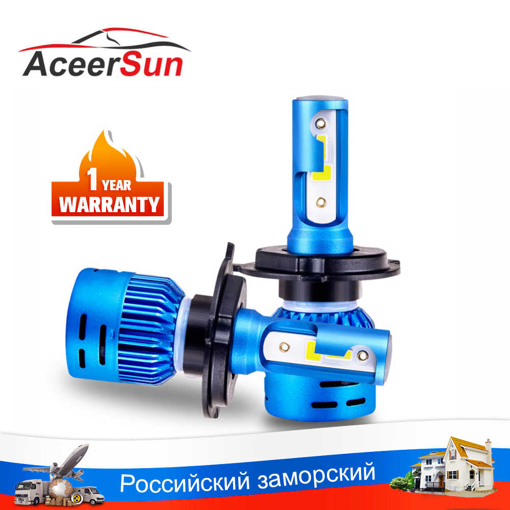 Aceersun LED H7 H4  6500K DOB H1 H8 H9 H11 LED Bulb Light Headlight LED Lamp Car Led Driver Auto bulbs White 12V 24V 8000LM 72W