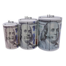 High-quality creative dollar metal cylinder piggy bank Saving Money Box Home Decoration tin piggy bank children small gifts(China)