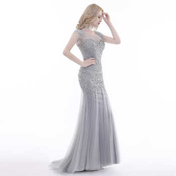 Lemon Joyce New Design Evening Dresses 2019 Luxury Grey Mermaid with Tassel Beaded Backless Floor Length Party Dress Prom Gowns