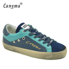 CANGMA High Quality Branded Female Casual Shoes Vintage Navy Blue Genuine Leather Sneakers For Girls Flats Newest Women Footwear