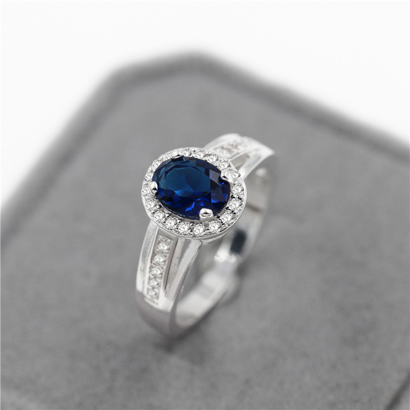2016 Trendy Silver Luxury Blue Stone Zircon Love Lady Ring Multicolor Womens Valentines Day Gifts for Female Bague Femme PJ138