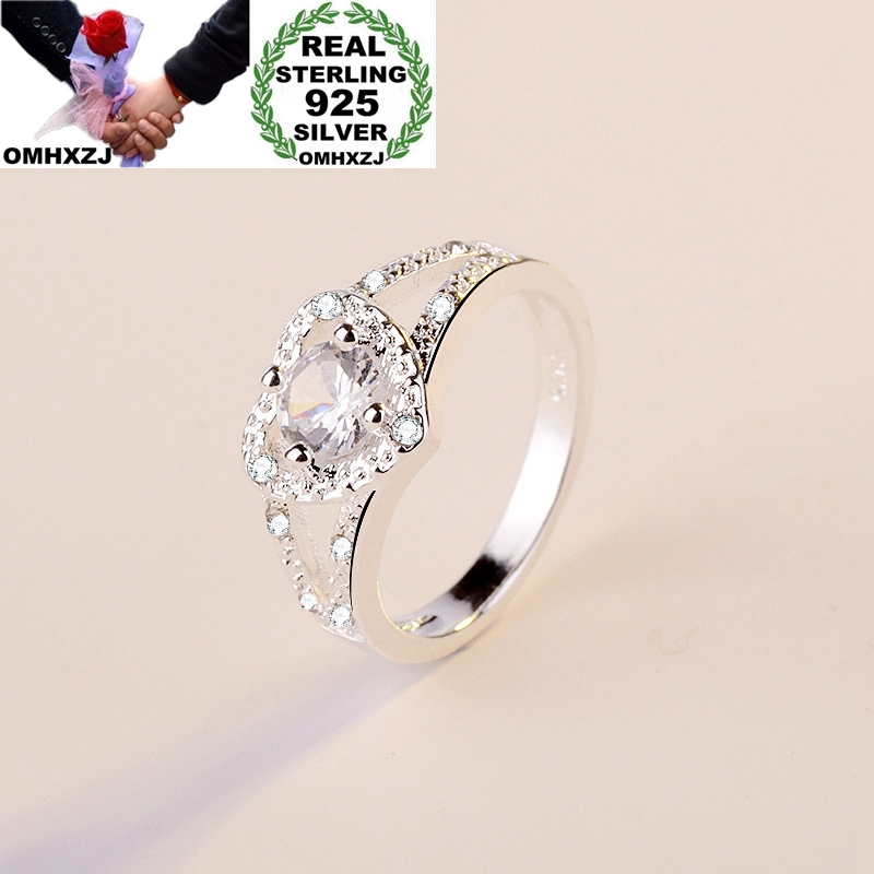 OMHXZJ Wholesale European Fashion Woman Girl Party Birthday Wedding Gift Heart White AAA Zircon 925 Sterling Silver Ring RR840