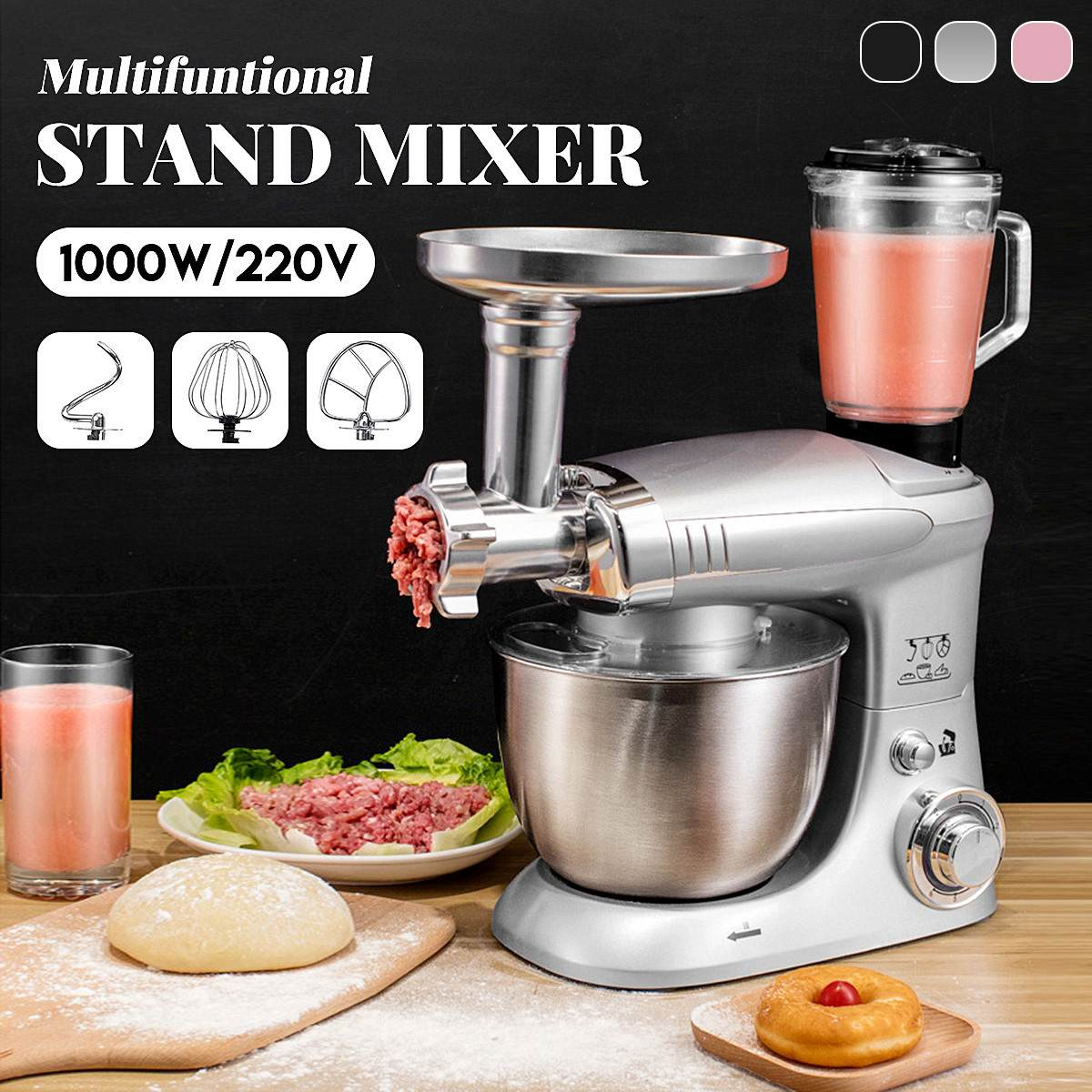 Stand Mixer 6 Speed Multifunctional Electric Food-Blender Mixer 1000W Meat Grinder Food Processor Doughs Beater Kitchen Tools