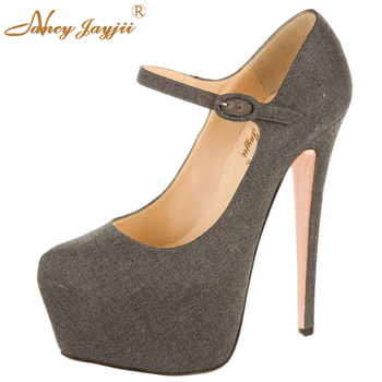 Classic Grey Cotton Lining Gunine Leather Pumps With Round Toe Extrem High Heels Mary janes Women Shoes For Dress Party Wedding