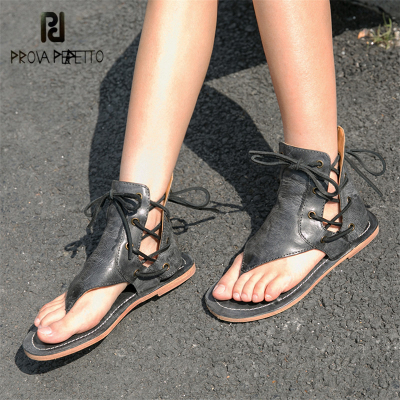 Prova Perfetto Handmade Summer Flip Flops Women Gladiator Sandals Casual Flat Beach Shoes Woman Lace Up Flats Sandalias Mujer handmade rome gladiator sandals women flats fringed tie up woman sandals shoes fur cross strap pompom sandals sandalias mujer 94