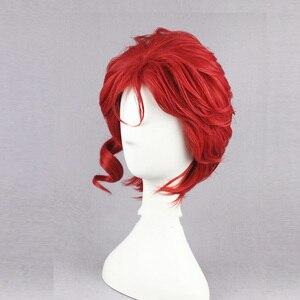"""Image 2 - Kakyoin Noriaki gelen JOJO 14 """"kırmızı kıvırcık kısa yüksek sıcaklık Fiber sentetik saç Cosplay peruk + peruk kap"""
