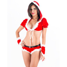 2017 Hot New Sexy Christmas Costumes Women Christmas Santa Claus Costume Babydoll Lingerie Set Nightwear With Hood W208532