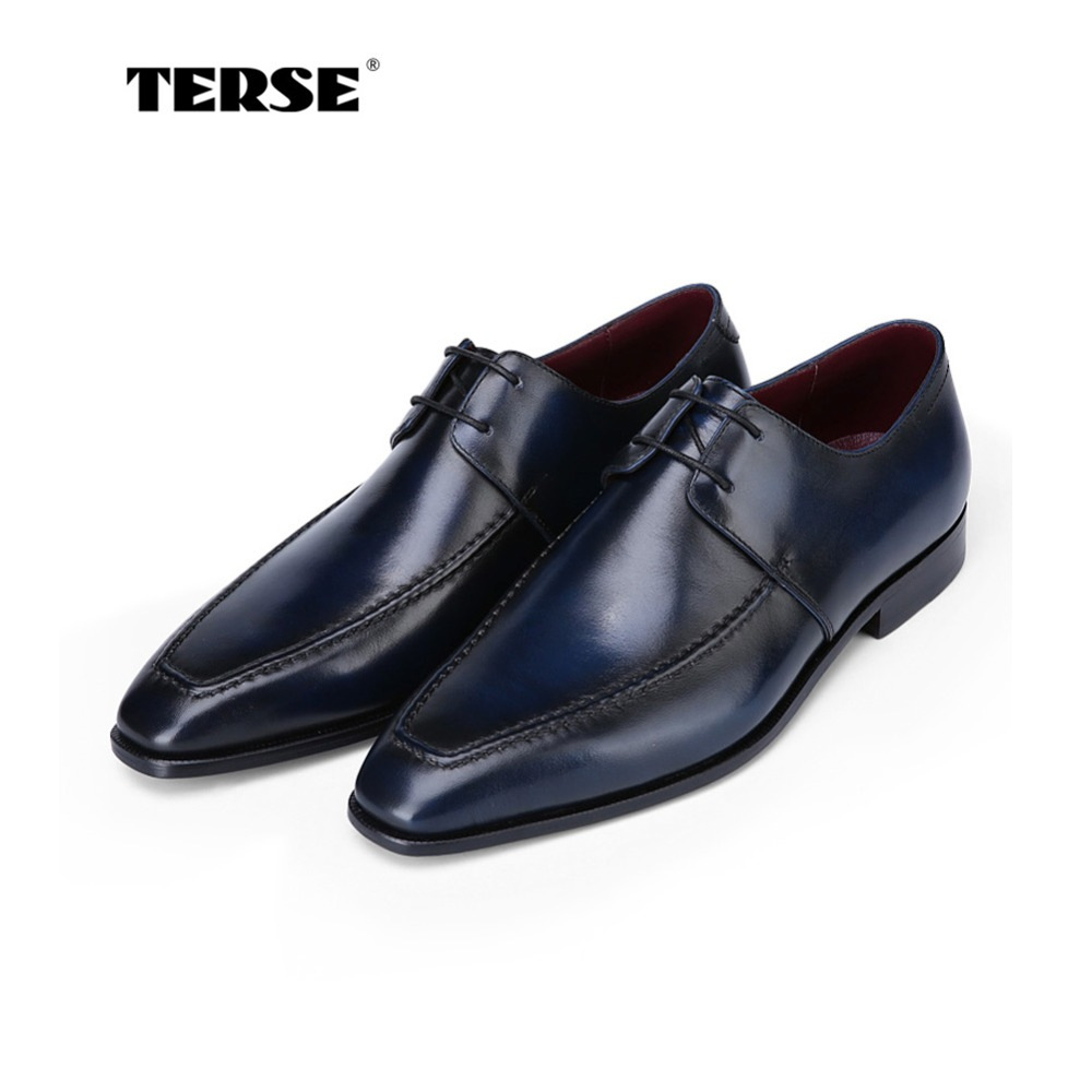 TERSE_Christmas sale handmade mens leather shoes goodyear welted genuine leather derby shoes in blue dress shoes for male 2016 luxury mens goodyear welted oxfords shoes vintage boss brogue shoes italian mens dress shoes elegant mens gents shoes derby
