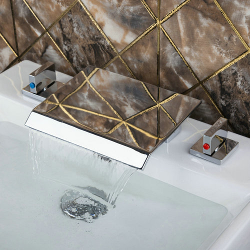 Best Deck Mount Wash Basin Sink Chrome Soild Brass Waterfall Spout +Two Handles +Hot/Cold Hose Bathtub Torneira Tap Mixer Faucet best bathtub torneira waterfall wall mounted polished chrome 8860 shower bathroom basin sink brass tap mixer faucet
