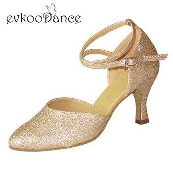 Heel Height 7cm Size US 4-12 Gold Glitter Gold Satin Black Glitter Silver Glitter Professional Womens Ballroom Dance Shoes NB009 фото